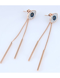 Fashion Rose Gold+sapphire Blue Eye Shape Decorated Earrings