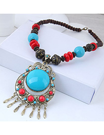 Fashion Blue Round Shape Decorated Tassel Necklace