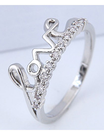 Fashion Silver Color Letter Shape Decorated Ring