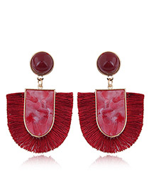 Elegant Red U Shape Design Tassel Earrings