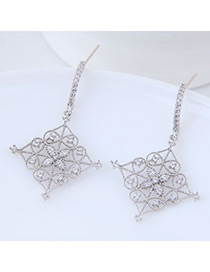 Elegant Silver Color Flowers Decorated Square Shape Earrings