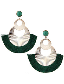 Fashion Gold Color+green Hollow Out Design Tassel Earrings