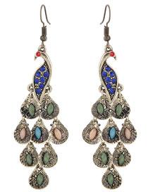 Simple Multi-color Peacock Shape Decorated Earrings