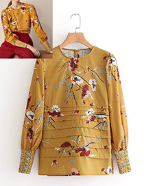 Fashion Yellow Flower Pattern Decorated Shirt