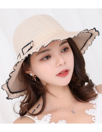 Fashion Beige Bowknot Decorated Wave Shape Sun Hat