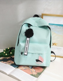 Fashion Light Green Pom Ball Decorated Backpack