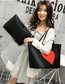 Fashion Black Heart Pattern Decorated Shoulder Bag (2 Pcs )