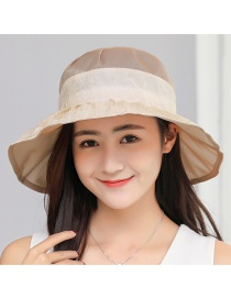Trendy Beige Flower Decorated Simple Sunshade Hat