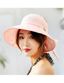 Trendy Pink Pure Color Decorated Sunshade Hat