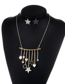 Fashion Gold Color+silver Color Star&heart Shape Decorated Jewelry Set