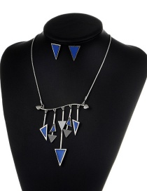 Fashion Blue Triangle Shape Decorated Jewelry Set