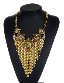 Fashion Gold Color Square Shape Decorated Necklace