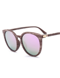 Fashion Purple Round Shape Decorated Sunglasses