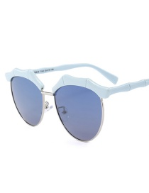 Fashion Blue Bamboo Shape Decorated Sunglasses