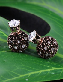 Fashion Brown Ball Shape Decorated Earrings