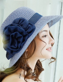 Fashion Navy Flowers Decorated Fishman Sun Hat