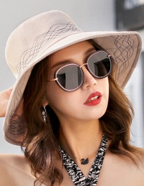 Fashion Beige Lines Pattern Decorated Foldable Sun Hat