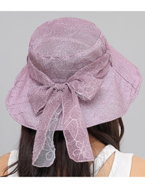 Fashion Purple Pure Color Decorated Foldable Sun Hat