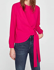 Fashion Plum Red Pure Color Decorated Long Sleeves Shirt