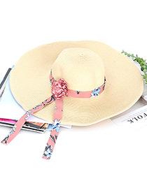 Trendy Beige Flower Decorated Hand-woven Hat