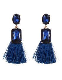 Fashion Sapphire Blue Square Shape Diamond Decorated Tassel Earrings