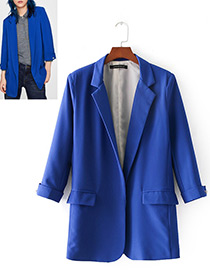 Fashion Blue Pure Color Decorated Long Coat