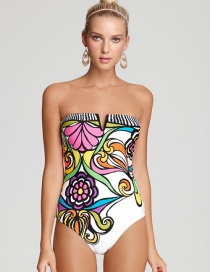Sexy Multi-color Flower Pattern Decorated Strapless Swimwear