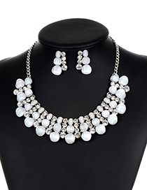 Fashion White Diamond Decorated Hollow Out Jewelry Sets