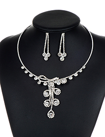 Fashion Silver Color Full Diamond Decorated Jewelry Sets