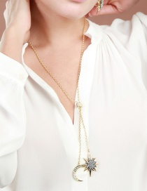 Fashion Gold Color Moon&stars Decorarted Long Necklace