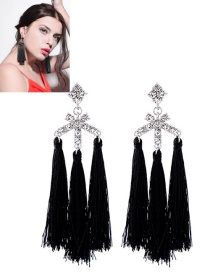 Fashion Black Diamond Decorated Tassel Earrings
