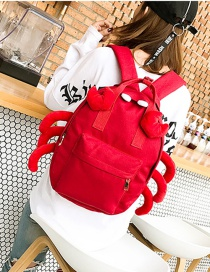 Fashion Red Crab Shape Decorated Backpack(l)