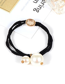Fashion Black Pearls Decorated Double Layer Hair Band