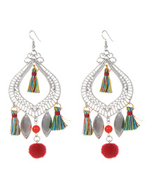 Fashion Multi-color Tassel Decorated Simple Earrings