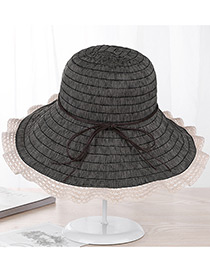Fashion Black Strip Shape Decorated Hat