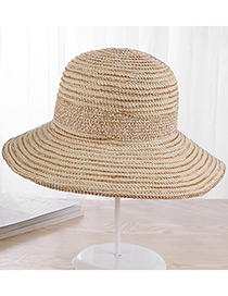 Fashion Beige Strip Shape Decorated Hat