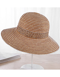 Fashion Khaki Strip Shape Decorated Hat