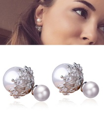 Fashion Silver Color Round Shape Decorated Lace Earrings