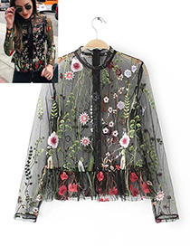 Fashion Black Flower Shape Decorated Shirt