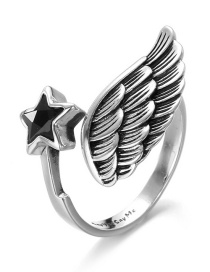 Fashion Silver Color Wing Shape Design Pure Color Opening Ring