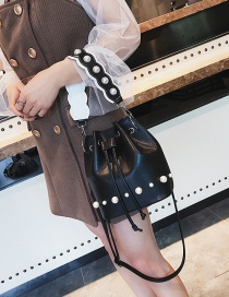 Fashion Black Bucket Shape Decorated Bag