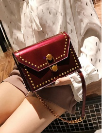 Fashion Claret-red Rivet Decorated Square Bag