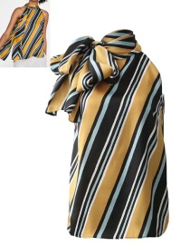 Fashion Yellow+black Stripe Pattern Decorated Shirt