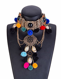 Trendy Multi-color Pom Ball Decorated Necklace
