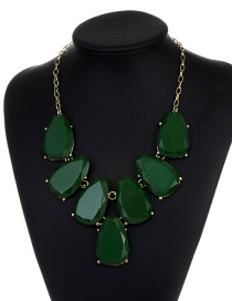 Fashion Green Waterdrop Shape Design Necklace