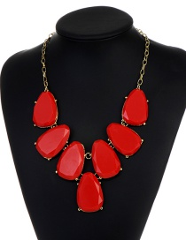 Fashion Red Waterdrop Shape Design Necklace