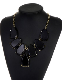 Fashion Black Waterdrop Shape Design Necklace