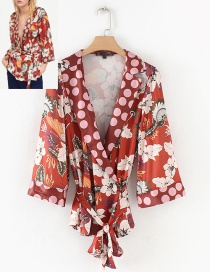 Fashion Red Flower Pattern Decorated Blouse