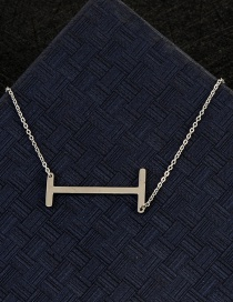 Fashion Silver Color I Letter Shape Decorated Necklace