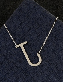 Fashion Silver Color J Letter Shape Decorated Necklace